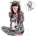 Precioso Cebra Pijama Onesie Unisex Adultos Pijamas Animal Cosplay ropa de Dormir de Una Sola Pieza Para Hombres Mujeres Parejas Chicas