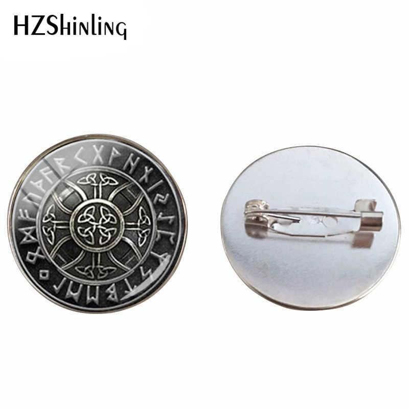 2019 Baru Steampunk Norse Viking Cross Di Rune Broonch Pin Kubah Kaca Viking Pericarp Tanda Perhiasan Pin untuk Pria Hadiah
