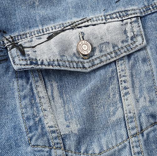 Rétro Denim Lâche Blue Automne Hiver Hip De Col Casual 2018 Hop Vestes Jackets Chaîne Harajuku Tirage Veste Down Streetwear Hommes Plegie Turn vFzw0x