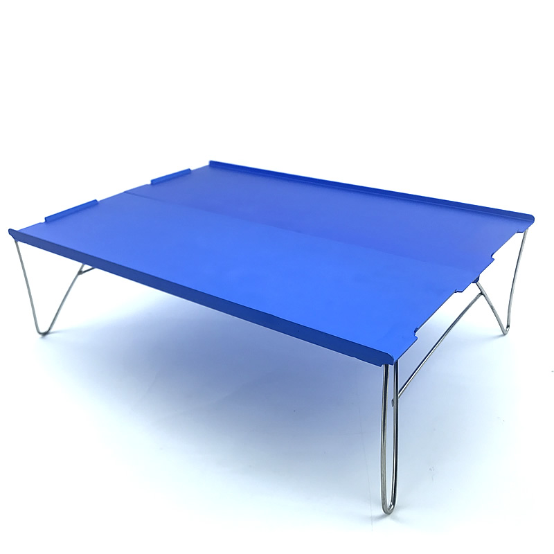 Blue Portable Mini Ultra-light Aluminum Folding Camping Table Fits Picnic Outdoor Barbecue 1-People Use