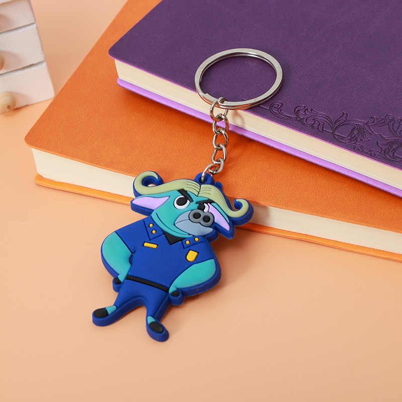 JEWELRYGIFT Zootopia Coelho Raposa Keychain Chaveiro Anel de Flash Coelho Bonito Na Moda Nick E Judy Anel Chaveiro Para As Crianças crianças