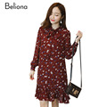 3 Color Bowknot Collar Floral Chiffon Long Maternity Dresses for Pregnant Women Spring Thin Pregnancy Dress Pregnant Clothes