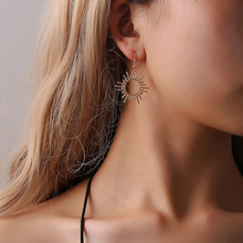 Fashion Gear Geometric Alloy Sun Earrings For Woman Jewelry Engagement Wedding Gift(China)