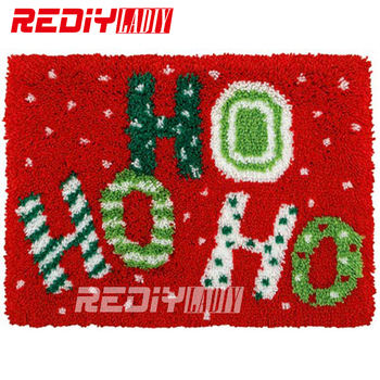 DIY Carpet Rug HO HO HO Snow Latch Hook Rug Kits Crocheting Tapestry Pre-Printed Canvas Cushion Set for Embroidery Unfinished