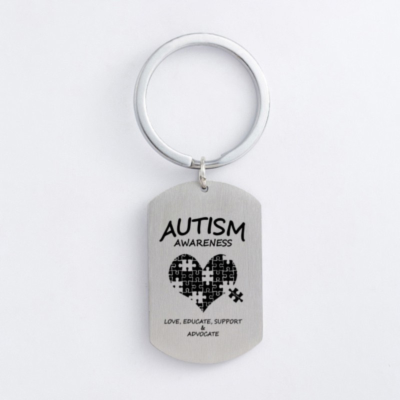 Autism Stainless Steel Keychain Jigsaw Puzzle Piece Autism Pendants Keyring DIY Jewelry Car Key Gift For Men Women(China)