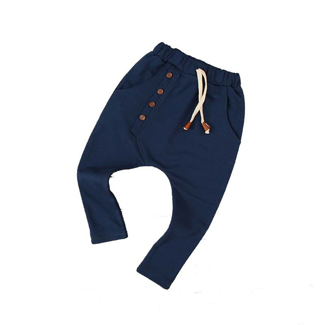 SQBCMW 2017 Kids autumn clothes Girls trousers children pants for boys harem pants solid colors red blue grey green four buttons