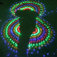 BEIAIDI 3M 444 LED Mesh Net Fairy LED String Light 3PCS Peacock Outdoor Christmas Wedding Window Icicle LED String Light Garland