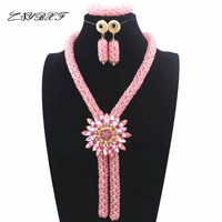 2019 Fashionable African Beads Jewelry Set Pink Costume Nigerian Wedding African Bridal Jewelry Set Free Shipping L1021