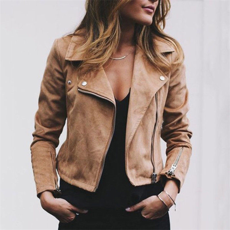 Jackets & Coats 2019 Spring Winter Womens Ladies Suede Leather Jackets Vintage Warmable Flight Coat Zip Up Biker Casual Tops Girl Clothes