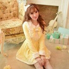 Принцесса сладкий Лолита белое платье конфеты дождь японский дизайн с длинным рукавом японский меховой воротник Тонкий кружево шерстяное пальто C16CD5910