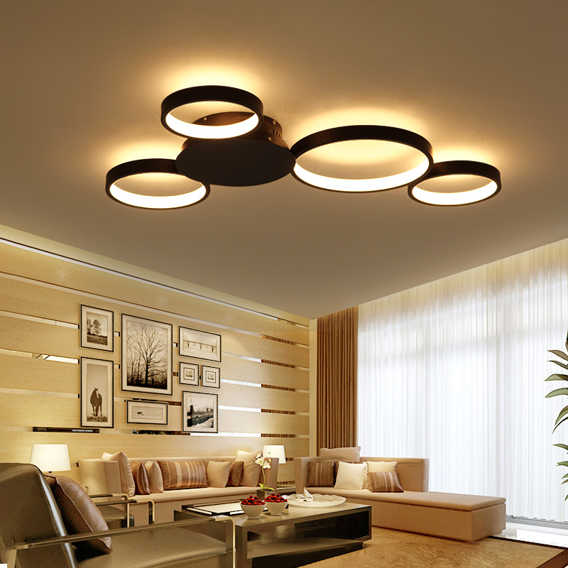 coffee/white modern led ceiling light with remote control for living room master room lampara techo lustre home lighting