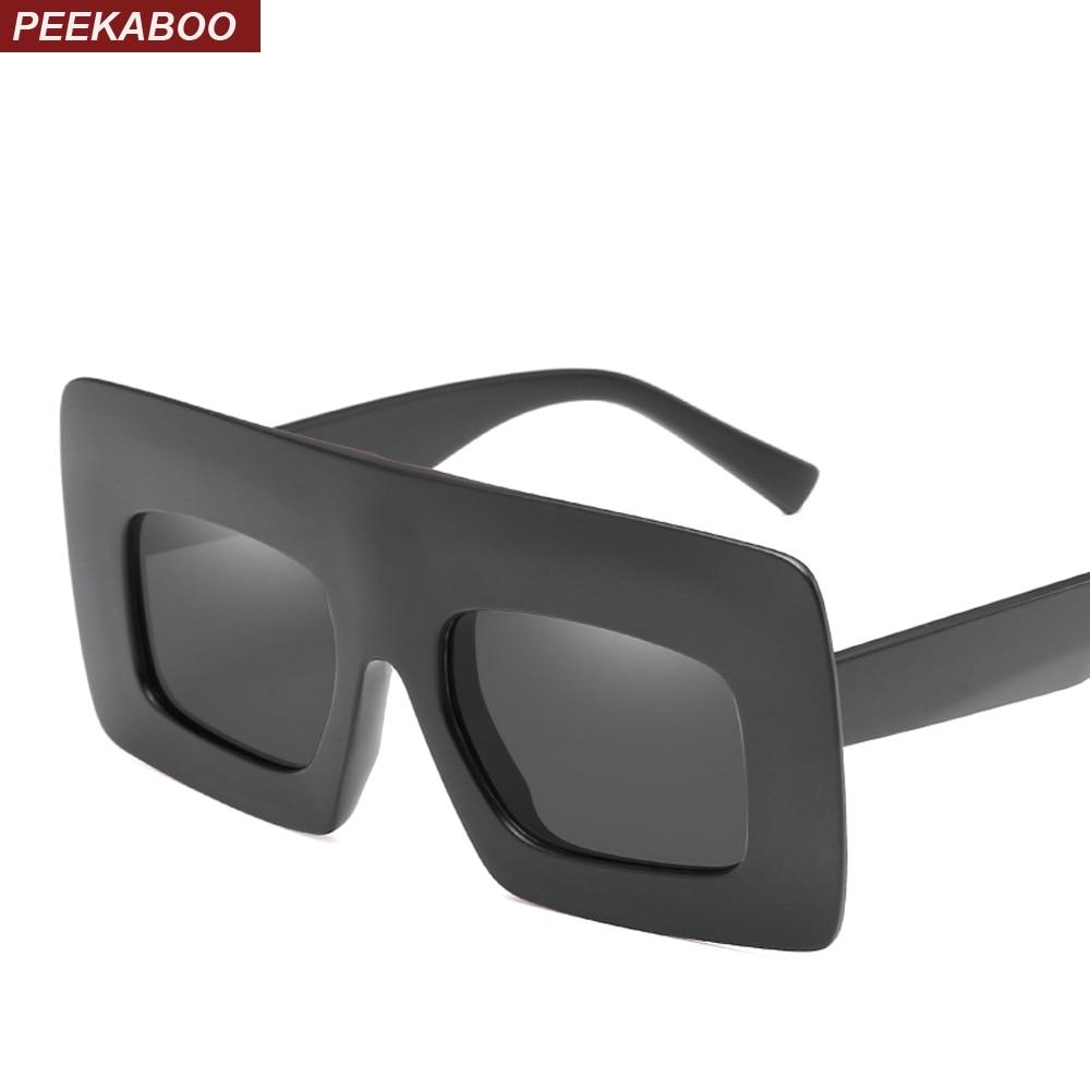 Peekaboo matte black oversized sunglasses women square 2018 flat top thick frame pink shades for women big size uv400