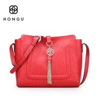 Hongu Light Luxury Genuine Leather Women Messenger Bags Lady Metal Tassels Flap Women Crossbody Shoulder Bags