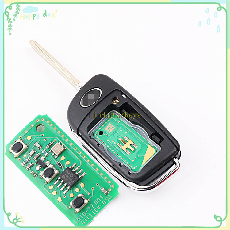 PINECONE for JAC S3 Car Key 3 Buttons 433 Mhz 46 Chip Uncut Brass Blade Original Parts Replace Remote Blank Key With Logo1 PC