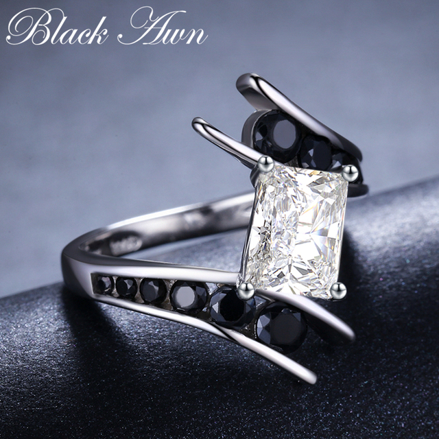 [BLACK AWN] Fine Jewelry 3.9 Gram 100% Genuine 925 Sterling Silver Row Black Stone Engagement Rings for Women Bague C299 4