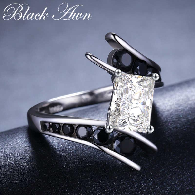 [Czarny AWN] Fine Jewelry 3.9 Gram 100% oryginalna 925 Sterling Silver wiersz czarny kamień pierścionki zaręczynowe dla kobiet Bague C299
