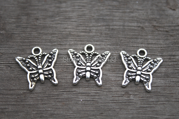 15pcs Butterfly Charms Antique Tibetan Silver Butterfly