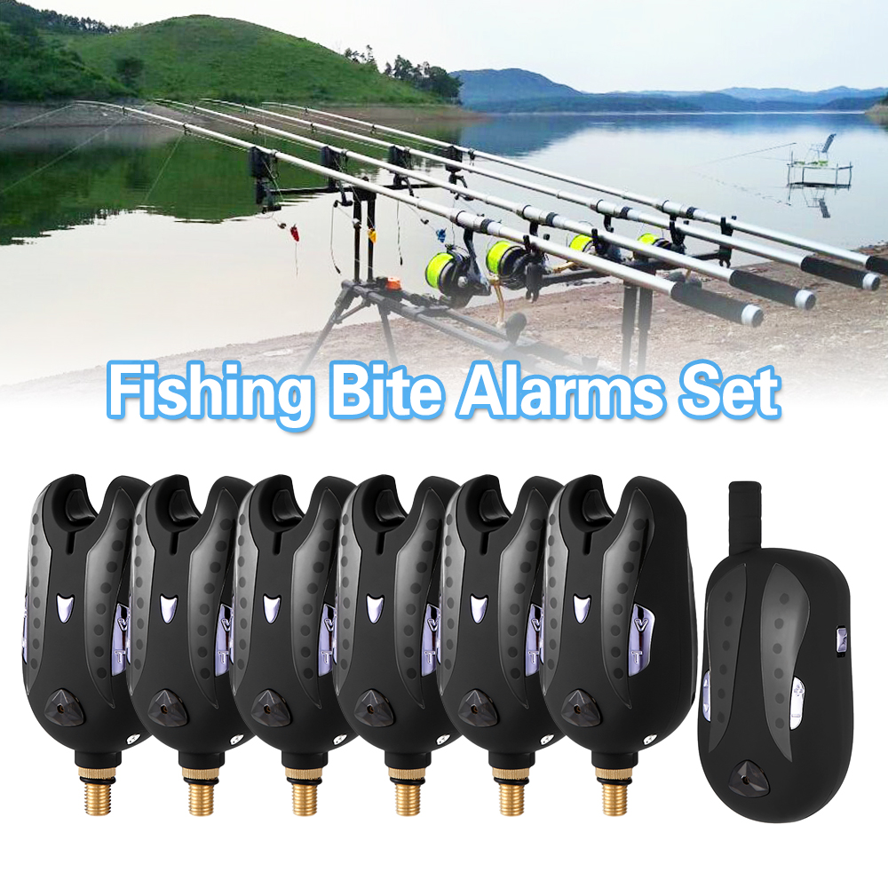 Lixada Wireless Digital Fishing Alarm Fishing Bite Alarms Fishing Receiver Sound Alert Led Alarm Indicator with