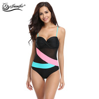 JAONIFER One Piece Swimwear 2017 Women Mesh Staggered Patchwork Swimsuit Bathing Suit Beachwear Swimsuits Women Swimwear