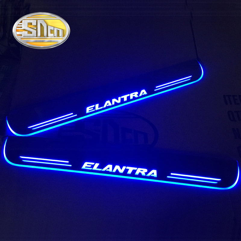 SNCN 4PCS Acrylic Moving LED Welcome Pedal Car Scuff Plate Pedal Door Sill Pathway Light For Hyundai Elantra 2015 2016 2017 2018