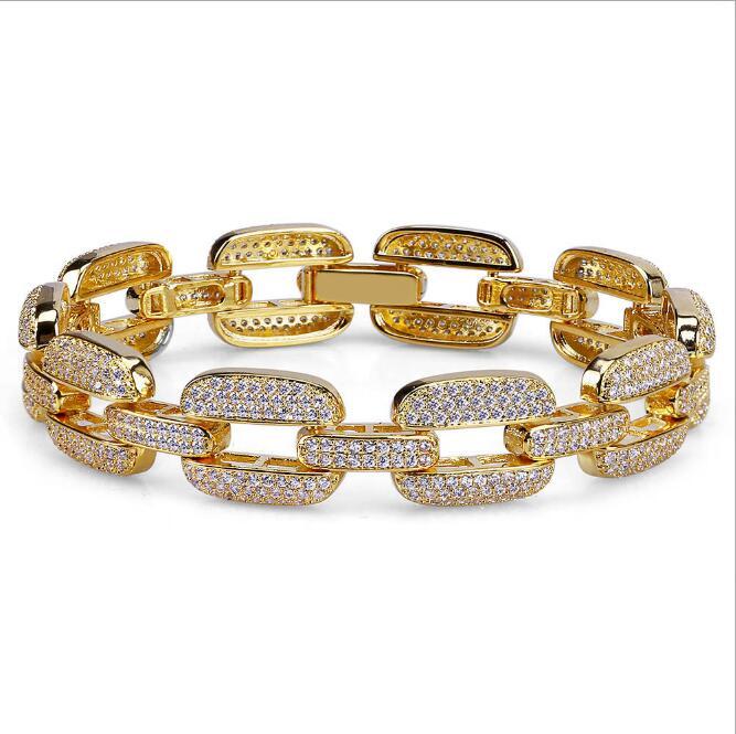 Zircon Tennis chaîne Bracelet hommes Hip hop bijoux cuivre matériel or argent Rose couleur boîte fermoir CZ Bracelet lien 20.5 cm