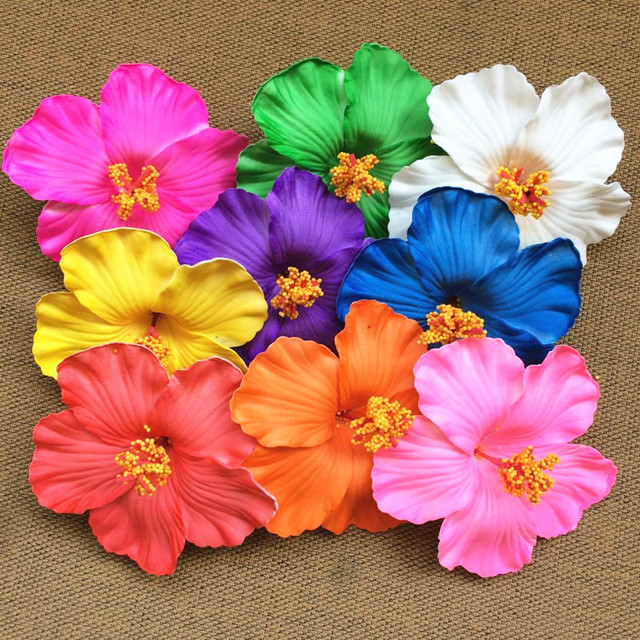 36pcs free shipping mixed colors Foam Hawaiian flower Hibiscus     36pcs free shipping mixed colors Foam Hawaiian flower Hibiscus Flower  bridal hair clip 9cm flower party