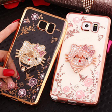 For Samsung A3 A5 A7 2015 2016 2017 S7 edge S8 Plus Phone Case Luxury Diamond Rhinestone Crystal Finger Ring Buckle Soft Cover
