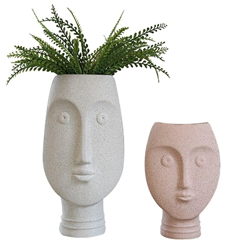 Vases nordiques en céramique pour le visage pot à fleurs tête humaine poterie artistique artisanat bureau Vase à fleurs pour la décoration de la maison jardin Style moderne