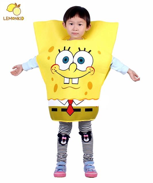 Дети Spongebob костюмы дети хэллоуин костюмы ну вечеринку косплей губка боб детская одежда устанавливает новогодние подарки бесплатная доставка