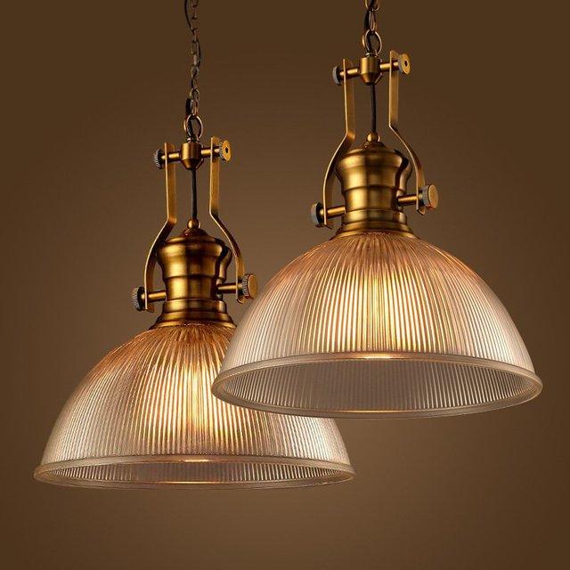 Loft Copper Glass Pendant Lights Industrial Lighting Lamparas Luminaire  Suspendu Edison Light Fixtures