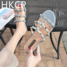 HKCP 2019 summer spring female Korean version of the new flip-flops flat sandals slippers go with rivet beach shoes C284