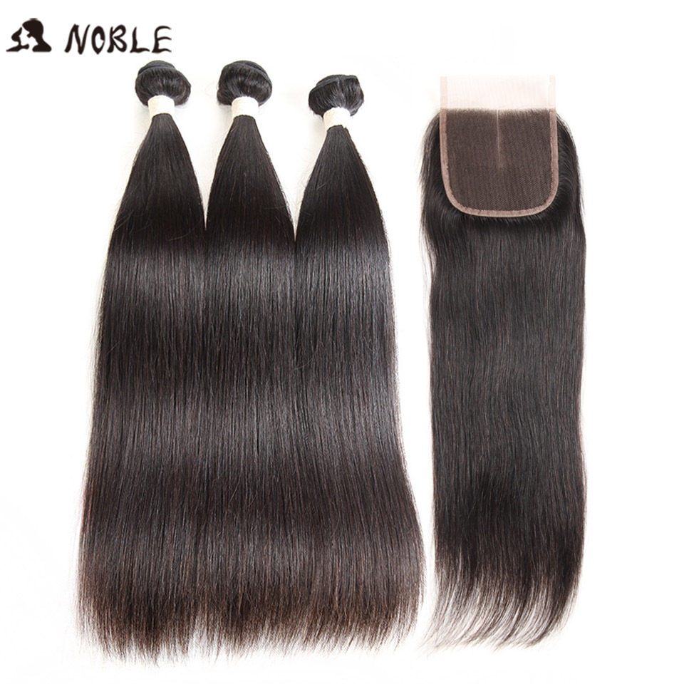 Noble Brazilian Straight Hair Bundles With Closure Non Remy Human Hair 3 Bundles With Closure Peruvian Hair Bundles With Closure