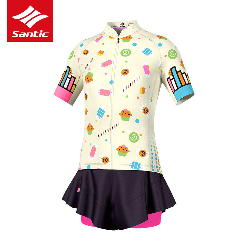 ФОТО Santic Cycling Jersey Kids Girl Short Skirt Ropa Ciclismo Kids Padded Cycling Clothing Reflective MTB Road Bicycle Bike Jerseys