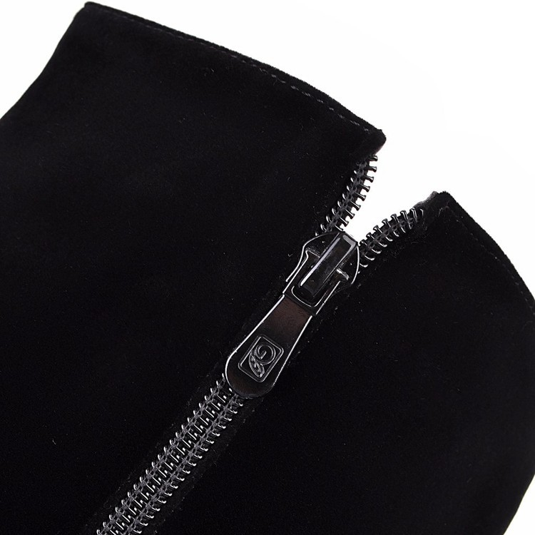 New Beaded Womens Large Size 40 High-heeled Suede Black Knee High Boots Autumn And Winter 7cm25