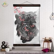 Самурай в Cherry Modern Wall Art Принт Поп-Арт Плакаты и Принты Scroll Холст Картины Настенные