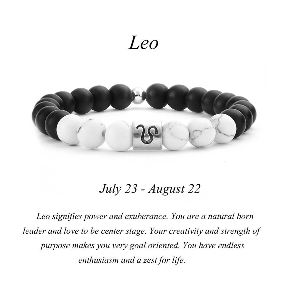 US $1 44 |12 Zodiac Signs 8mm Matte Stone White Elastic Beads Bracelets  Vintage Constellation Horoscope Bracelets Jewelry For Men Women-in Strand