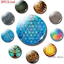 Flower of Life Fridge Magnet Knot Sri Yantra Spiritual Yoga Mandala Buddhist Sacred refrigerator magnets Glass cabochon stickers