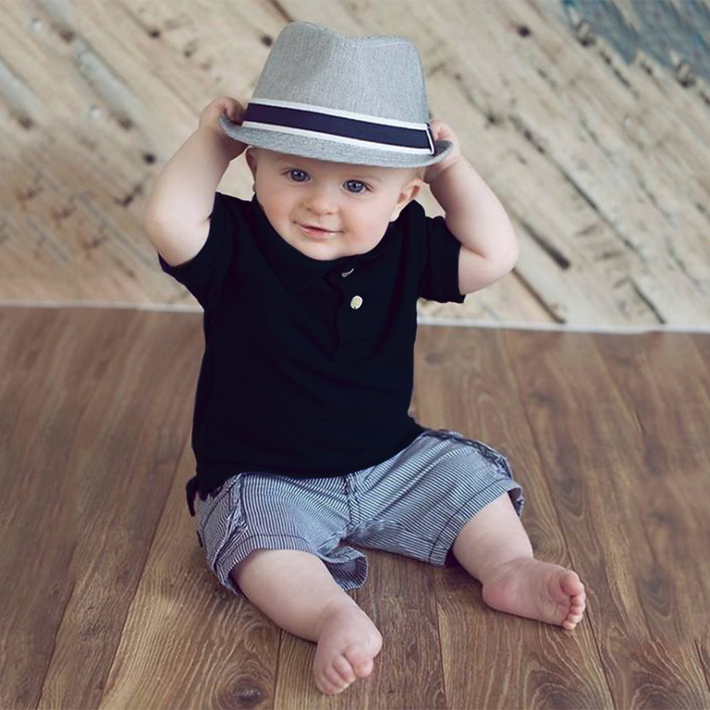 2Pcs/Set Newborn Infant Baby Boys Clothes Summer Baby Clothes Set Solid Polo Shirt with Striped Short Pant Outfit 4pcs set newborn baby clothes infant bebes short sleeve mini mama bodysuit romper headband gold heart striped leg warmer outfit