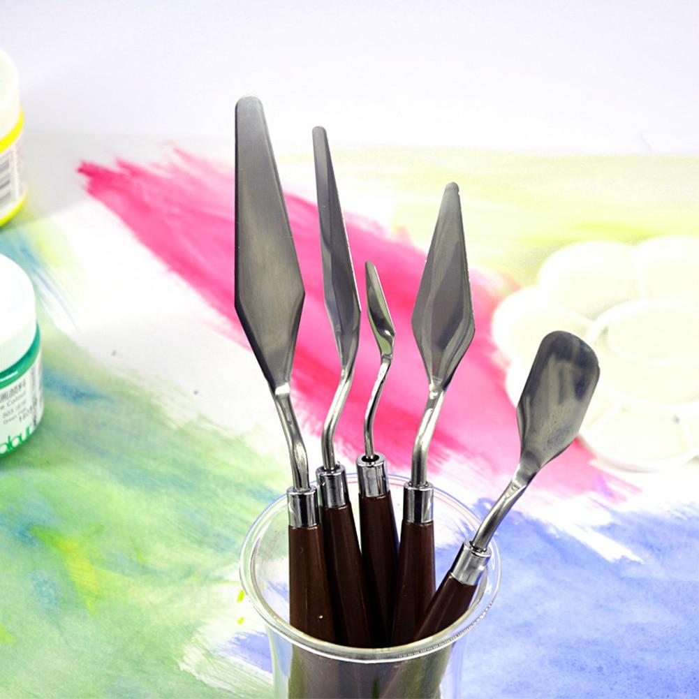 5Pcs Fine Arts Mixing Scraper Palette Knife Stainless Steel Spatula Painting Kit Paint Professional 5