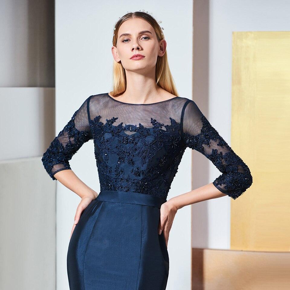 Image 4 - Dressv elegant scoop neck 3/4 sleeves lace evening dress beading floor length wedding party formal gown dress evening dresses-in Evening Dresses from Weddings & Events