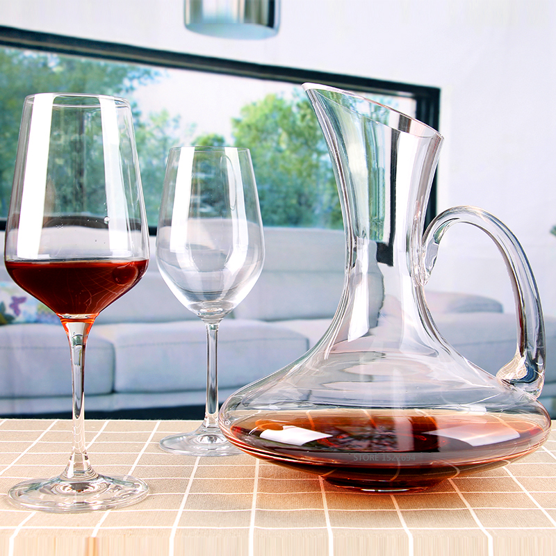 Superior 1900ML Flat Base Red Wine Decanter Handmade Crystal Wine Pourer Premium Water Carafe Thickened Wall image