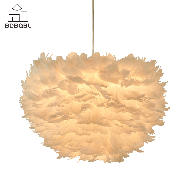 BDBQBL Art Deco LED Feather Pendant Lights White/Pink/Gray Creative Flower Plume Hanging Lamp For Bedroom Dining Room Study