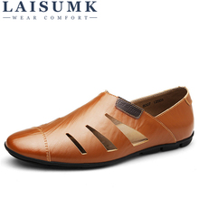 LAISUMK Summer Handmade Genuine Leather Men Loafers Casual Luxury Brand Shoes Fashion Breathable Driving Plus Size 47