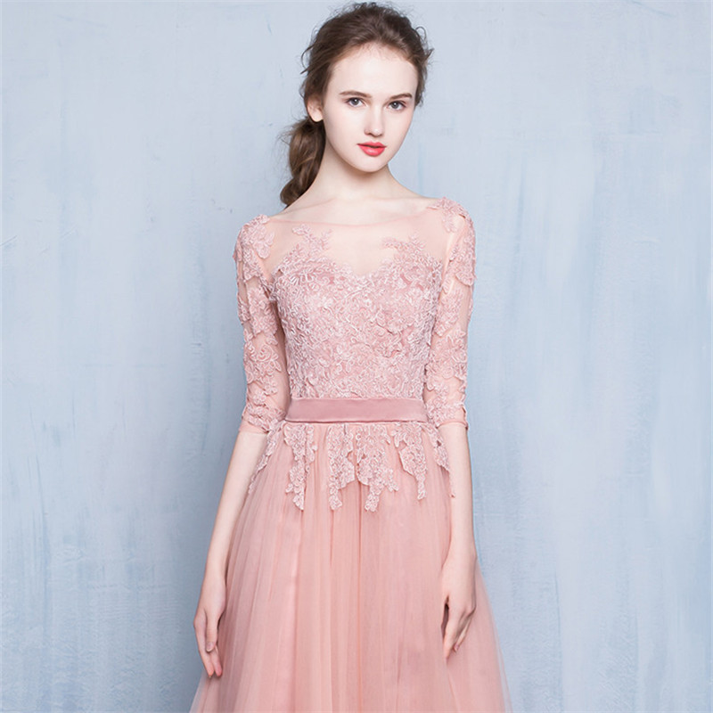 It s Yiiya O Neck Luxury Evening Dresses Fashion Deigner Embroidery Lady  Style Sexy Illusion Tulle Formal Dress LX305-in Evening Dresses from  Weddings ... 5b0c315497af