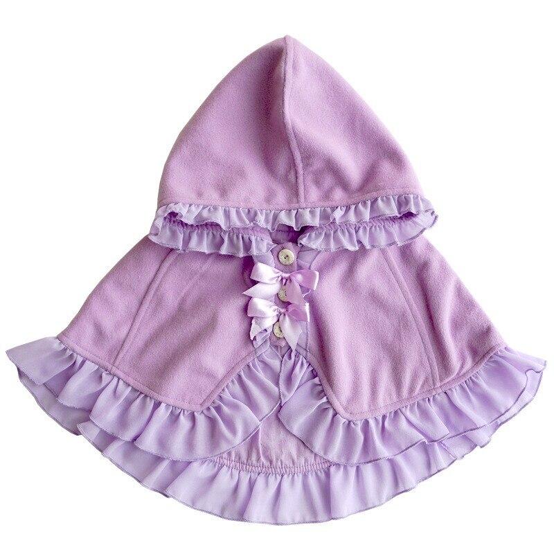 Довольно Обувь для девочек плащ Карамельный цвет лук Кружево пальто с капюшоном Детские Кардиган для девочек Демисезонный Детские зимние ш...