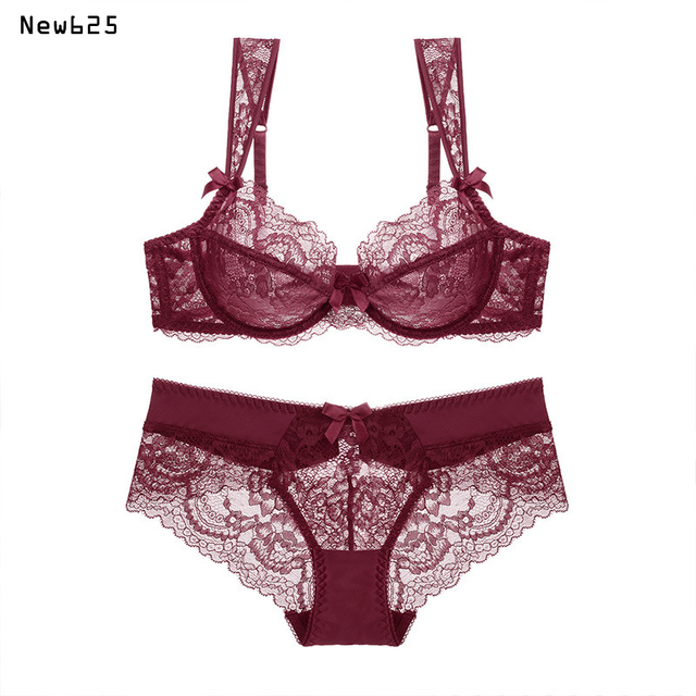 3aeaf0b28a Female lingerie sexy lace bras Red gather push up women underwear bra set  girl transparent lace bra and panty set 2017