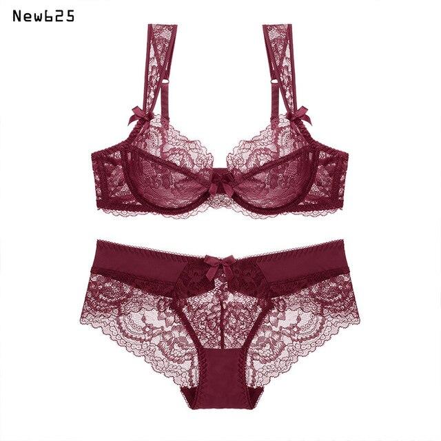 a844c17a5 Feminino lingerie sexy sutiãs de renda Vermelho reunir empurrar para cima  as mulheres cueca conjunto de