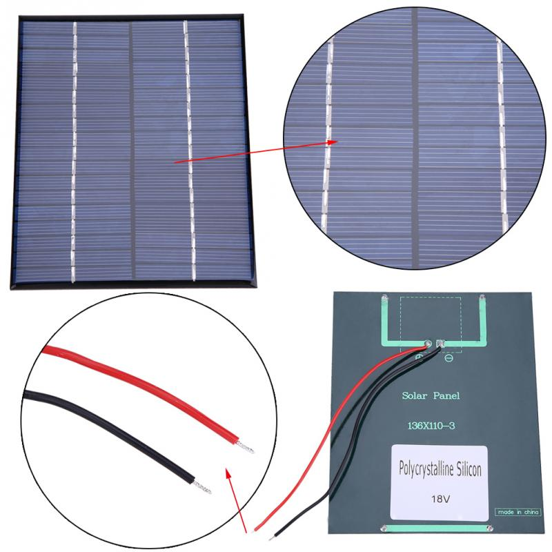 2W Solar Panel 18V panel solar Mini Portable Polycrystalline Silicon Solar Panel Power Module Charger 136*110mm panneau solaire