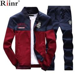 6b05a24c93f Riinr Brand New Men Sets Fashion Autumn Spring Sporting Suit Sweatshirt  +Sweatpants Mens Clothing 2