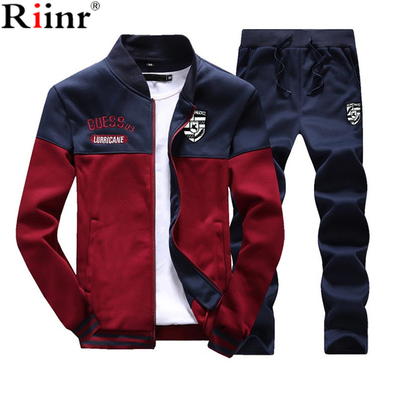 Riinr Model New Males Units Style Autumn Spring Sporting Go well with Sweatshirt +Sweatpants Mens Clothes 2 Items Units Slim Tracksuit
